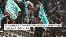 Les chauffeurs de VTC en colère bloquent la porte Maillot à Paris