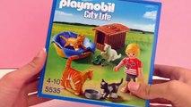 Enfant avec quatre chats Playmobil – avec gamelle, nourriture pour chat, panier