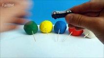 6 Lollipop Play Doh Surprise Opening !! Spongebob Cars Mininie Mouse Disney Porsche Kinder VW Toys