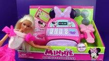 Barbie Shopping with Minnie Mouse Bowtique Cash Register Barbie Clothes Parody DisneyCarToys