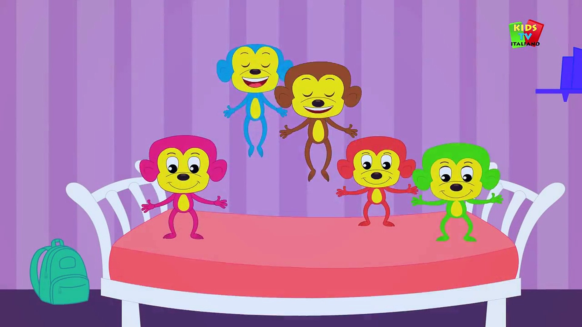 Cinque Scimmiette Saltavano Sul Letto.Cinque Scimmiette Five Little Monkeys Video Dailymotion