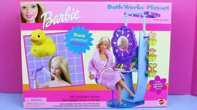 Frozen Elsa Doll BARBIE SHOWER Review Toys of the Barbie Bathworks Playset DisneyCarToys Barbie Bath