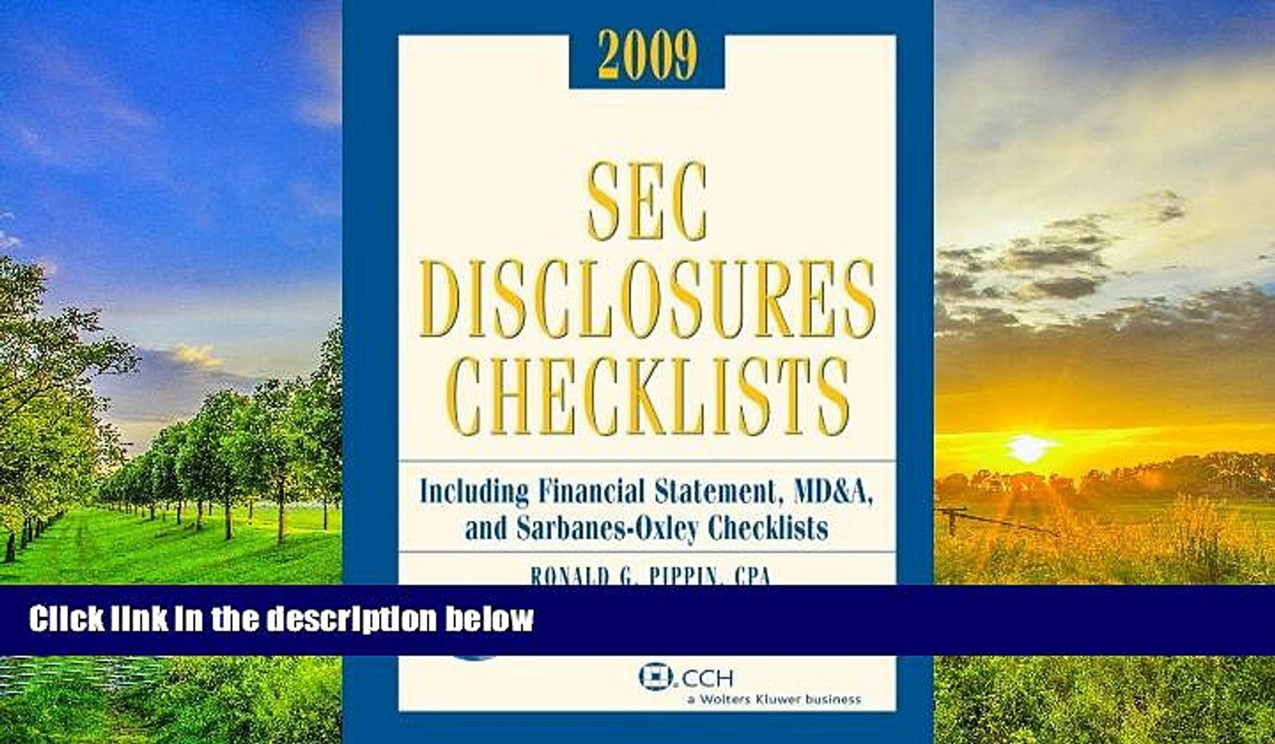 Read Online SEC Disclosures Checklists (2009) Ronald G. Pippin Pre Order