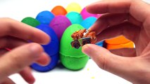 Learn Colors with surprise eggs toys : Play dough and Mickey Mouse, Disney Pixar Cars McQueen, PE