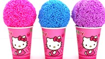 Hello Kitty Foam Clay KINDER Surprise Eggs Ice Cream Cups Minions Disney Princess RainbowLearning
