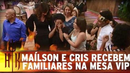 Maílson e Cris recebem familiares na mesa vip
