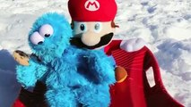 Mario and Cookie Monster Sledding Super Mario Driving Sledding Instructor Toy Sled DisneyCarToys
