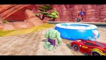 Spiderman & Hulk saves The Snow Queen Elsa FROZEN & Lightning McQueen from jail ! + nursery rhymes