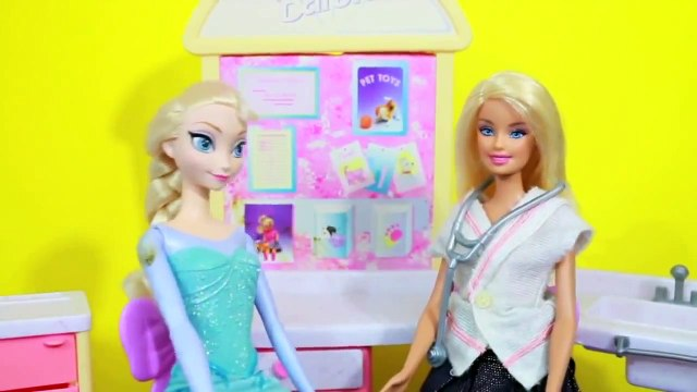 FROZEN Elsa visits Doctor Barbie Vet Office Playset Disney Frozen Parody Toy Doll AllToyCollector