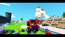 MONSTER TRUCKS MCQUEEN COLORS SMASH CARS & LIGHTNING MCQUEEN   FUN with Spiderma