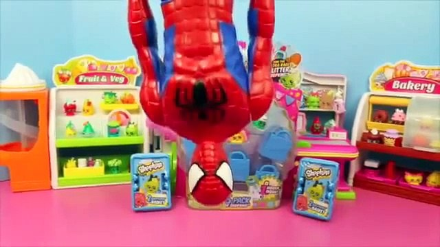 Shopkins Blind Bags Surprise Shopping Baskets with Spiderman Shopkins Toys Review DisneyCarToys