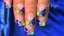 HOT Nails! Neon Rainbow Stripes Nail Art Tutorial | Short Summer Nail Design