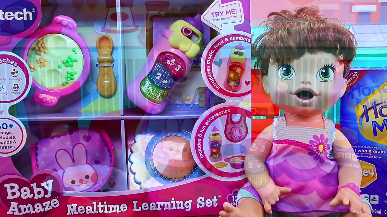 BABY ALIVE Lucy Dolls New VTech Baby Amaze Mealtime Learning Toy Baby Food & Bottle DisneyCarToys