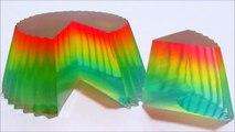 Como hacer una gelatina arcoiris molde cupcake - colores suaves - postre arcoiris