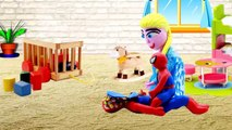Spiderman Frozen Elsa Hulk Play doh stop motion prank Spiderman & Frozen Elsa! Hulk Play