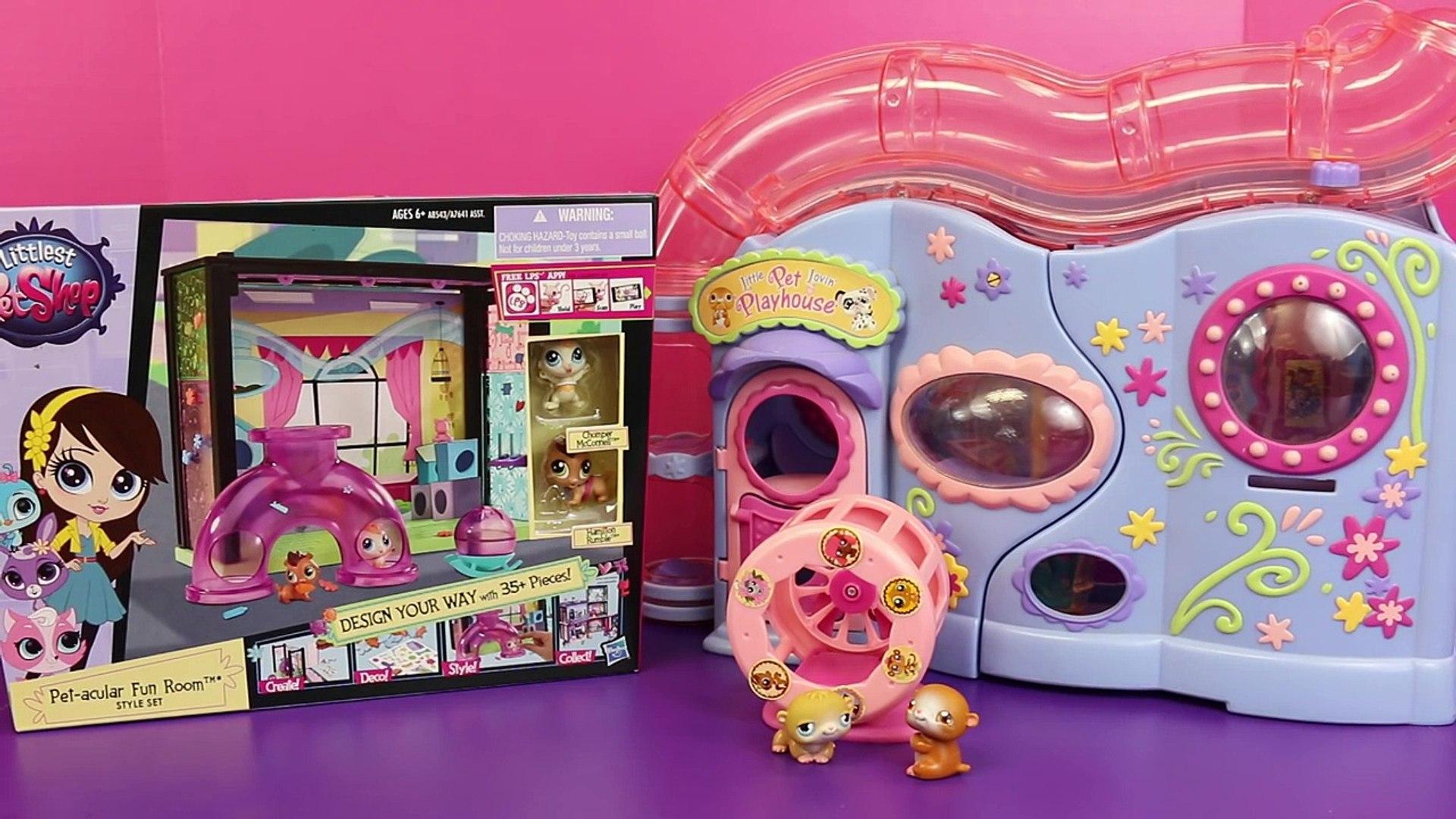 NEW Littlest Pet Shop Pet-acular Fun Room Vs OLD Little Lovin Pet Playhouse Hamster DisneyCarToys