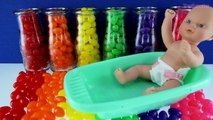 BABY DOLL BATHTIME! Learn Colors w/ Rainbow Jelly Bean Milk Bottle Surprise Toys