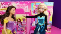 Frozen Elsa at Barbie Glam Vacation House with Princess Vera by DisneyCarToys