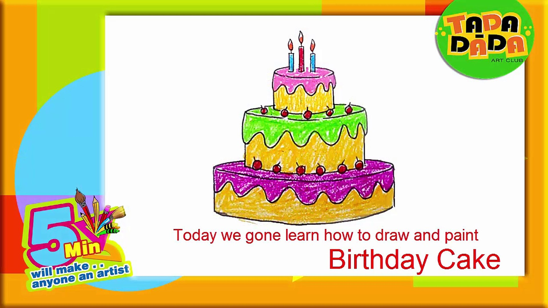 Fine Learn How To Draw A Birthday Cake Step By Step Kids Drawing Funny Birthday Cards Online Alyptdamsfinfo