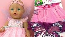 Baby Born Wonderland Robe de fée|Déguisement avec des ailes de papillon, Bandeau et Baguette magique