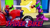 Spiderman Steals Batman Batwing and Green Goblin Steals the Web Wheelin Bike of Ultimate Spider-man