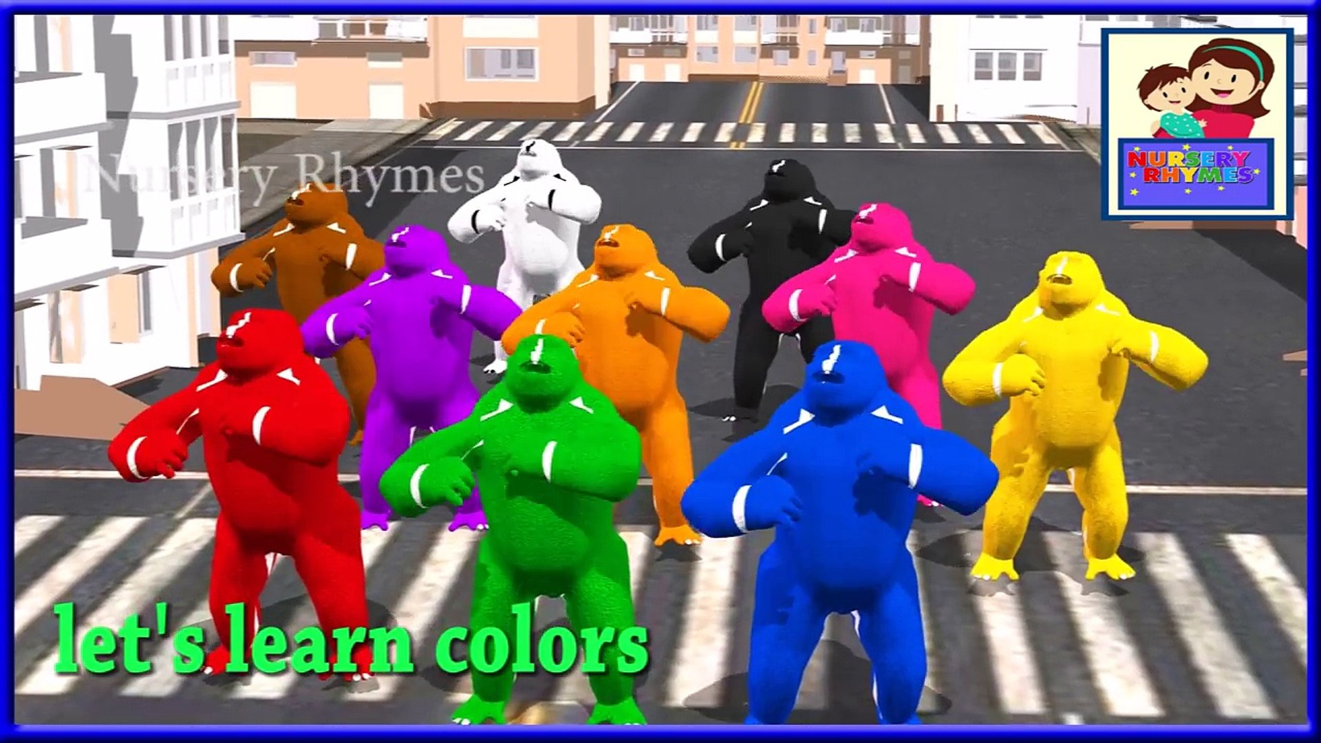 Crazy Gorilla Colors song | Learn Colours Song | Nursery Children Rhyme | 3d Animation Toddlers song