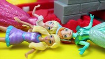 Spiderman Saves Frozen ELSA, Anna Magic Clip Dolls & Barbie Spidey Capture Track DisneyCarToys