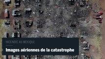 Spectaculaires images aériennes après l'incendie d'un marché de feux d'artifice au Mexique
