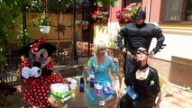 Frozen Elsa cu Minnie Mouse si Batman cu Catwoman Petrecere si Lupta cu Apa contra lui Hulk