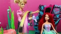 Barbie Hair Salon Little Mermaid ARIEL Gets BAD Hair from Barbie & Frozen Princess Elsa Hair