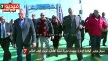 مميش ورئيس الرقابة الإدارية يشهدان تجربة عملية لتشغيل كوبرى النصر العائم