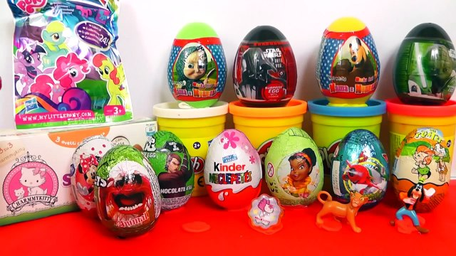 20 Surprise Eggs, Kinder Surprise Masha i Medved Cars 2 Hello Kitty Mickey Disney Pixar
