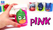 Learn Colors w/ PJ Masks Slime Surprises - Gooey Rainbow Clay Slime Surprises w/ Paw Patrol Surprise