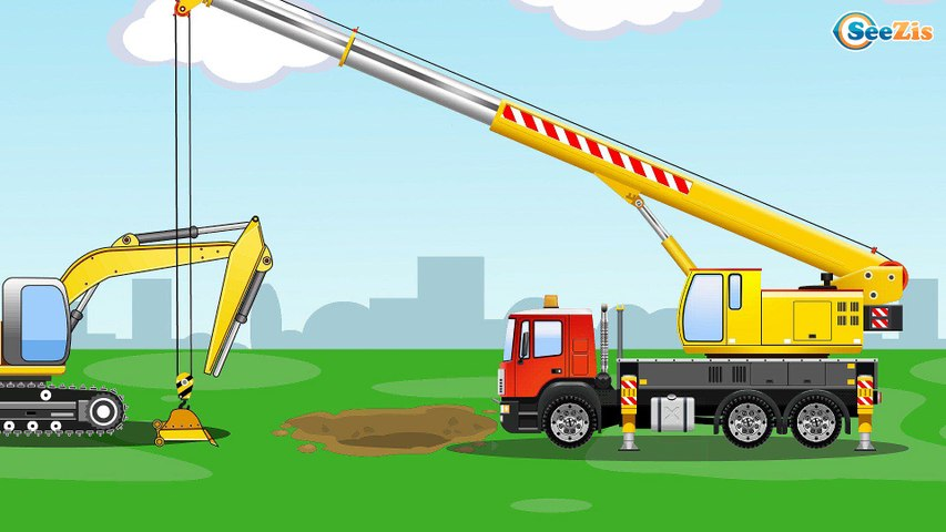 The Yellow Excavator - Diggers Cartoon for children - Construction Trucks - Video for kids
