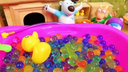 Baby doll bath play Pororo and Magic Color Sand play Lava Play Dough