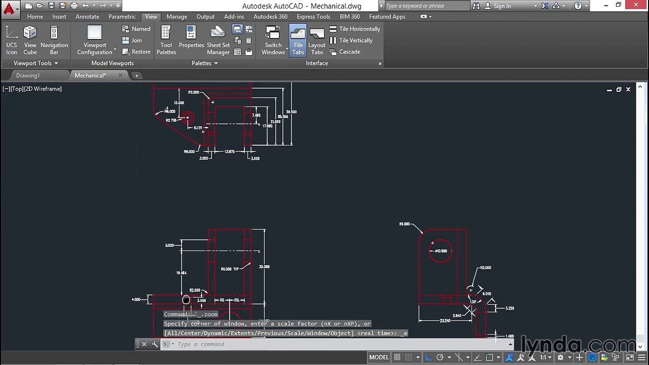 17 Saving and restoring views (AutoCAD 2016 Essential Training)