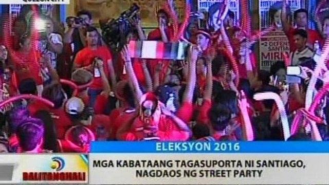 BT: Mga kabataang tagasuporta ni Santiago, nagdaos ng street party
