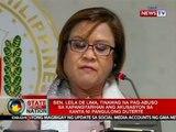Sen. Leila De Lima, tinawag na pag-abuso sa kapangyarihan ang akusasyon sa kanya ni Pang. Duterte