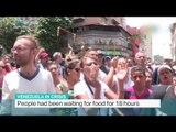 Riot police fire tear gas at food protesters in Venezuela, Juan Carlos Lamas reports