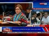 NTVL: Privilege speech ni Sen. Leila de Lima