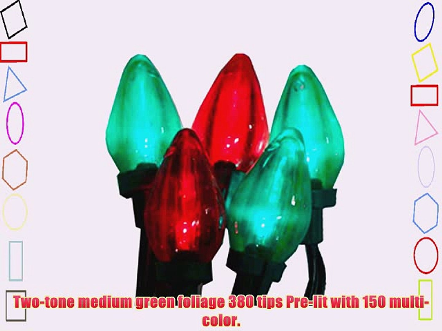 25 Transparent Red & Green LED Retro Style C7 Christmas Lights - Green Wire