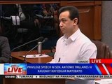 NTVL: Privilege speech ni Sen. Antonio Trillanes IV kaugnay kay Edgar Matobato