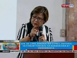 Sen. de Lima, binanatay si Pres. Duterte sa forum tungkol sa kababaihan at demokrasya