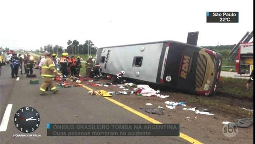 Acidente com ônibus deixa dois brasileiros mortos e 15 feridos na Argentina