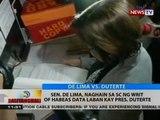 BT: Sen. De Lima, naghain sa SC ng writ of habeas data laban kay Pres. Duterte