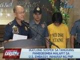 Ika-3 suspek sa tangkang pambobomba malapit sa US Embassy, iniharap ng PNP