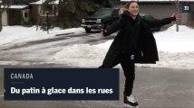 Au Canada, des habitants font du patin à glace dans des rues couvertes de verglas