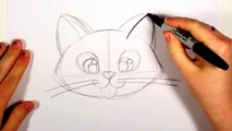 How To Draw A Cute Kitten Face - Tabby Cat Face Drawing Art for Kids   CC