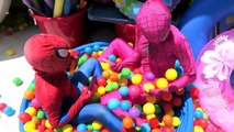 Spiderman vs Joker vs Pink Spidergirl Ice Cream Party w Ball Pit Frozen Elsa Fun Superheroes