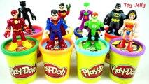 Learning Colors Play Doh Surprise Toy Cans! Justice League Superman vs Batman Wonder Woman